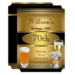 Vintage Mens 70th Birthday Party Gold Beer Invitations