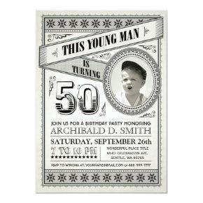 Vintage Milestone Birthday Invitations Your Photo