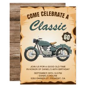 Vintage Motorcycle Adult Birthday Party Invitations