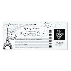 Vintage Paris France Birthday Party Boarding Pass Invitations