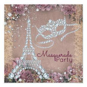 Vintage Paris Masquerade Party Card
