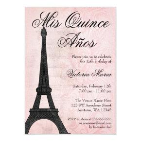 Vintage Paris Pink Black Sweet 15 Quinceanera Invitations
