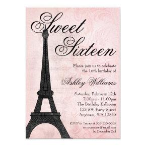 Vintage Paris Pink Black Sweet 16 Birthday Invitations