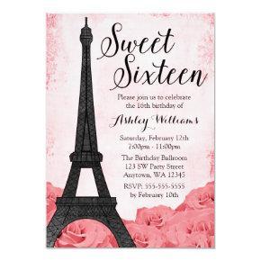 Vintage Paris Pink Roses Sweet 16 Birthday Invitation