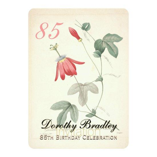 Vintage Passiflora 85th Birthday Party Invitations