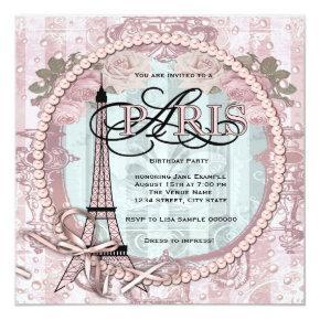 Vintage Pink Paris Birthday Party Invitations