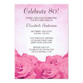 Vintage Pink Roses 80th Birthday Party Card