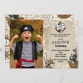 Vintage Pirate Birthday Party Ahoy Matey Map Photo Invitation