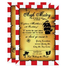 Vintage Pirate Party, Birthday Invitation. Invitation
