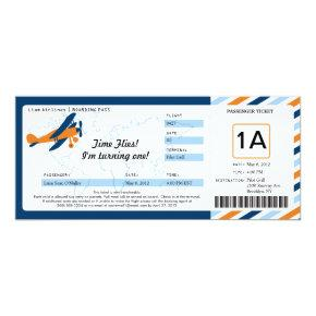 Vintage Plane Birthday Boarding Pass Ticket Invitation