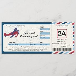 Vintage Plane Birthday Boarding Pass Ticket Invitation