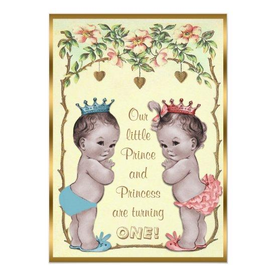 Vintage Prince and Princess Twins Birthday Card Candied Clouds