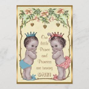 Vintage Prince and Princess Twins Birthday Invitation