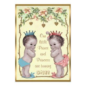 Vintage Prince and Princess Twins Birthday Invitations