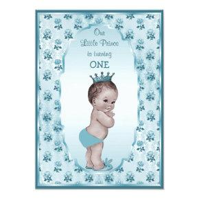 Vintage Prince Boy and Blue Roses 1st Birthday Invitations