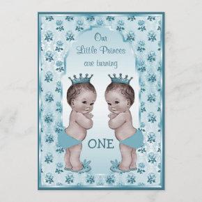 Vintage Prince Boy Twins Blue Roses 1st Birthday Invitation