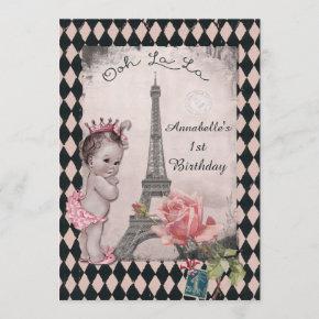 Vintage Princess Eiffel Tower Baby 1st Birthday Invitation