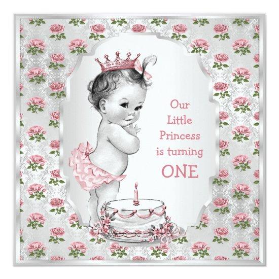 Brilliant Vintage Princess Roses 1St Birthday Cake Silver Candied Clouds Funny Birthday Cards Online Alyptdamsfinfo