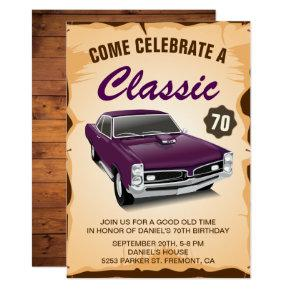 Vintage Purple Car Classic Birthday Invitations