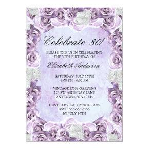 Vintage Purple Roses and Feather 80th Birthday Invitations