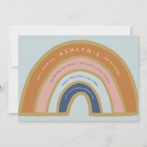 Vintage Rainbow Birthday Invitation