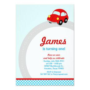 Vintage Red Race Car Birthday Party Invitations