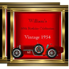 Vintage Red Racing Car Mans 60th Birthday Party 2 Invitation