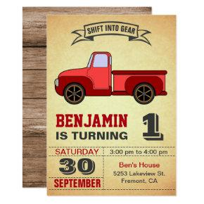 Vintage Red Truck First Birthday Party Invitation