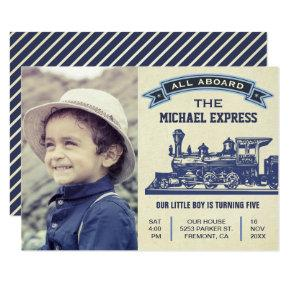 Vintage Retro Train Kids Birthday Party Invitations