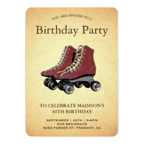 Vintage Roller Skates Birthday Party Invitation