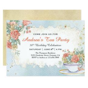 Vintage Rustic Pastel Floral Birthday Tea Party Invitations