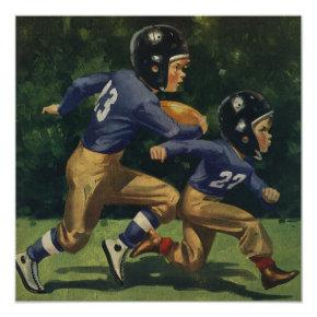 Vintage Sports, Boys Play Football Birthday Party Invitation