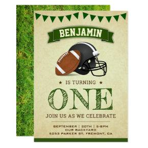 Vintage Sports Football 1st Birthday Party Invitation