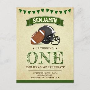 Vintage Sports Football 1st Birthday Party Invitation Post