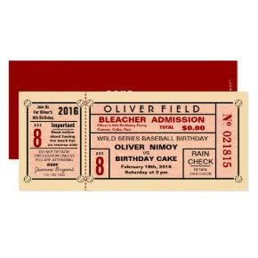 Vintage Stadium Ticket Baseball Birthday Invitations