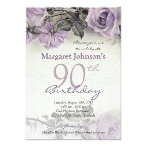 90th vintage roses birthday invitations candied clouds vintage sterling silver purple rose 90th birthday invitations filmwisefo