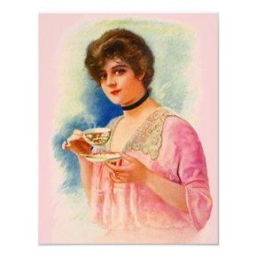 Vintage Stylish Lady Tea Party  Invites