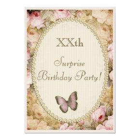 Vintage Surprise Birthday Roses Butterfly, Music Card