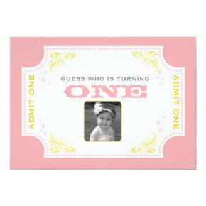 Vintage Ticket Circus Birthday Invitation