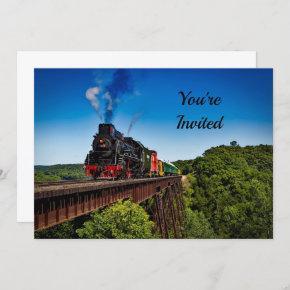 Vintage Train Bridge Photo Birthday Invitation