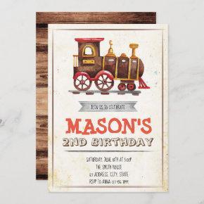Vintage train party birthday invitation