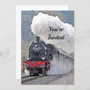 Vintage Train Steam Locomotive Photo Birthday Invitation