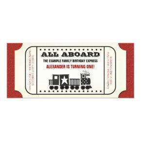 Vintage Train Ticket Birthday Party Invitations