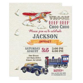 Vintage Transportation Birthday Invitation / Boy