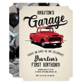Vintage Truck Birthday Party Photo Invitation