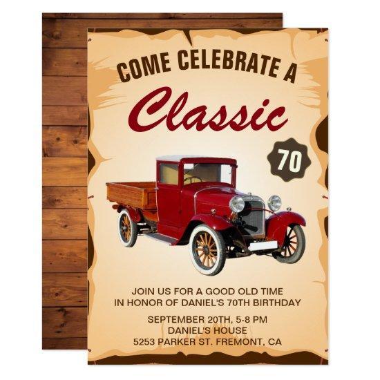 Vintage Truck Milestone Birthday Party Invitations