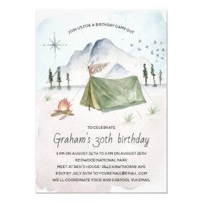 Vintage Watercolor Camping Birthday Party Invitation