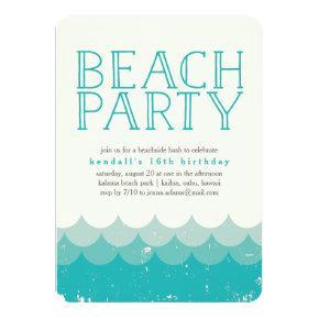 Vintage Waves Beach Party Invitation