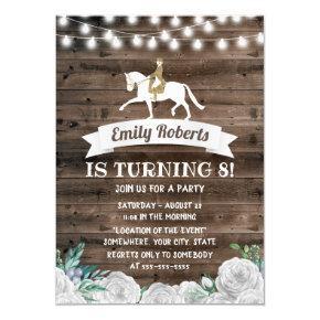 Vintage White Floral Barn Wood Horse Birthday Invitation