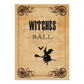 Vintage Witches Ball 17th Birthday Double Sided Invitation